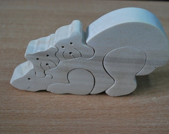 Wooden puzzle bears Family bears Wooden animals Jigsaw puzzle Wooden handmade toys Eco friendly toy Waldorf toy