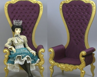 BJD Doll Armchair 1/3 High Throne Rococo Royal Furniture