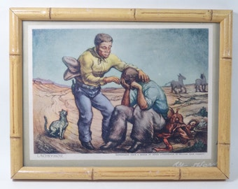 SALE!!!  Fred Harvey El Tovar Grand Canyon Lounge Menu Art Framed 'LACHRYMOSE' by WD Fausett