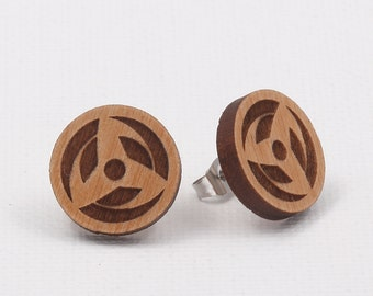 Hatake Kakashi Mangekyo Sharingan Laser Cut Wood Fake Plug Earrings
