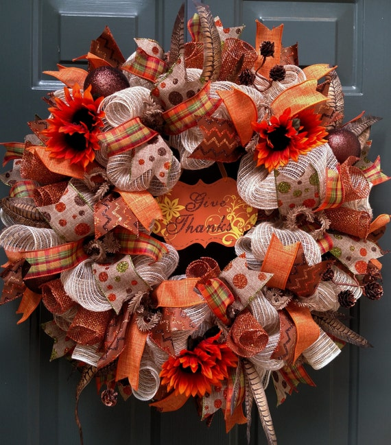 Fall Wreath Burlap Wreath Thanksgiving Wreath Door Wreath