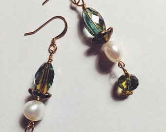 Green & Pearl Earrings with Gold Accents