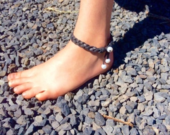 Pearl and deer leather anklet; leather pearl anklet; boho; beach; bohemian, dangle