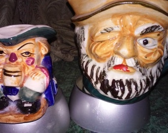 TOBY CUPS or TobyJugs Small Mugs Set of 2, HandPainted Vintage, Used as TeaCups, Unique Faces Smaller handle,Smaller o handle.Very Cool,TOBY