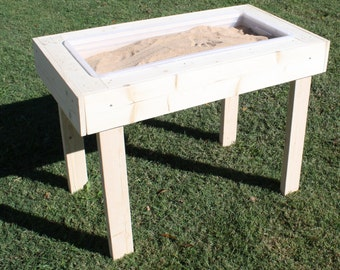 """Brand New Child's Wooden Sand Box Or Water Sensory Play Table - 41.5"""" x 23"""" Sandbox - With Optional Personalization - Free Shipping"""