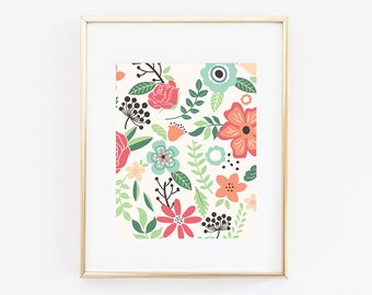 Floral Print Nursery Print Nursery Art Floral Home Decor Art Print Flowers Printable Nursery Printable Flowers
