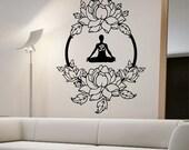 Lotus Wall Decal MEDITATION Sticker Art Decor Bedroom Design Mural interior design buddha namaste yoga peace lotus flower OM ohm