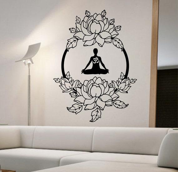 Lotus Wall Decal Meditation Sticker Art Decor Bedroom Design