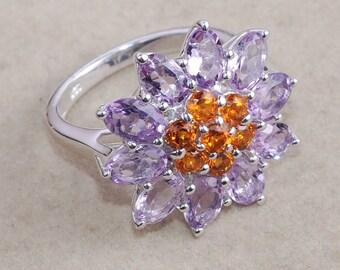 Pink Amethyst Ring - Madeira Citrine Ring - Flower Ring - 925 Sterling Silver Ring - Prong Setting - Handmade Ring - Christmas Gift for her
