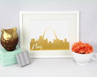 St. Louis Missouri // City Silhouettes // Foil Prints // Cityscape Foil Prints // St. Louis Foil Prints