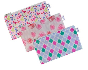 Fab Set of 3 Cloth Snack Bags with Zippers