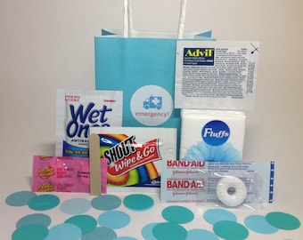 WEDDING WELCOME BAGS - Mini Shopping Bags, Stagette, Comfort Kits, Emergency Kits, Out of town guests, Hangover kits