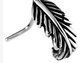 Surgical Steel Feather Design Nose Stud Looks Like A Ring As Curls Around The Nostril