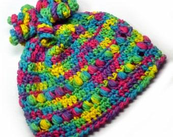 OOAK Bright and Colorful Child's Size Hat ~ Original Crochet Design