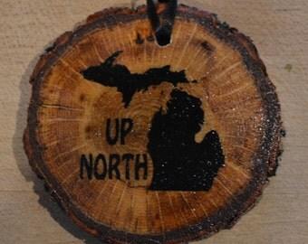 Set of 2 Up North Michigan Oak Ornaments