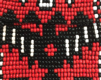 Beaded Change Purse Red With Black Eagle