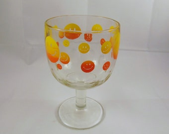 Yellow and Orange Smiley Face Goblet