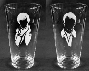 Custom Etched SHERLOCK 16oz Pint glasses (Sherlock and Watson) - Set of 2!