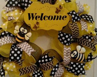 Buzzy Bee Yellow & Black Deco Mesh Wreath. Free Shipping.