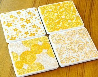 Floral Print Coasters Yellow Coasters Ready To Ship Cute Coasters Gifts For Her Gifts Under 30 Resin Mold Tile Coasters Ceramics