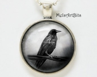 Raven Crow  Black and White Photo / Art Pendant Necklace