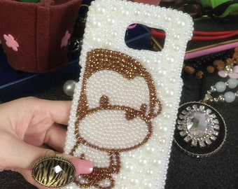 Bling Charms Sparkles Stylish Monkey Glossy Crystals Unique Gems Rhinestones Lovely Charms Pearls Fashion Hard Cover Case for Mobile Phone