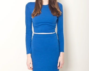 SLEEK SET BLUE // electric blue jersey bodycon midi set