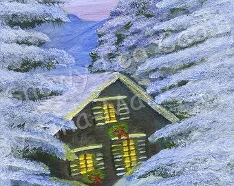 SNOWY LOG CABIN - Giclee Print