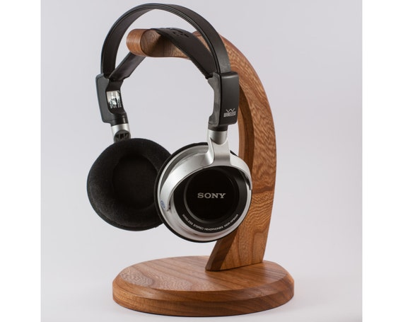 Wood headphone stand holder handmade - Wooden headphone holder ...