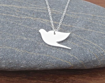 Silver bird necklace, silver necklace, silver metal clay, rustic necklace, simple silver necklace, dove necklace