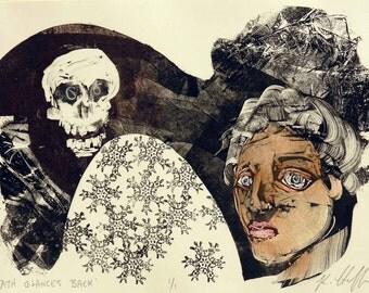 Whimsical art, monotype, original art, skull art, monoprint, whimsical print, printmaking, memento mori, one of a kind art, contemporary art