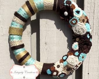 Yarn Wrapped Wreath - Everyday Wreath - Arrow Wreath - Blue and Gold Wreath - Gift Idea