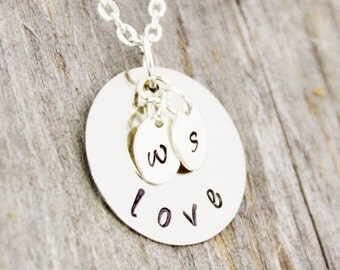 Mother's Day Gift for Girlfriend Gift for Engagement Gift for Wife Gift Love Necklace Initial Necklace Hand Stamped Jewelry Custom Jewelry