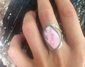 Rhodonite Adjustable Healing Ring, Rhodonite Ring