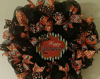 Happy Halloween black deco mesh wreath