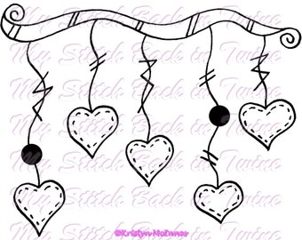 Digital stamp colouring image - Heart Banner. jpeg / png