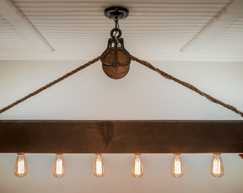 5 ft Rustic Beam Edison Bulb Chandelier With Vintage Barn Pulley