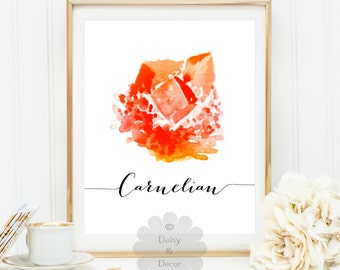 Watercolor Jewel carnelian printable print, gemstone print, quote wall art print, calligraphy print jewel art sign gift art gem print
