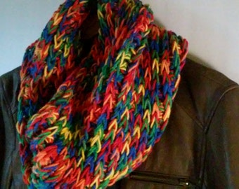 Chunky Rainbow Cowl, Crochet Cowl, Multicolored Scarf, Circle Scarf, Neck Warmer,Womens Winter Scarf, Infinity Scarf, chunky cowl
