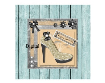 Birthday greeting  ladies card shoes digital printable  5 x 5