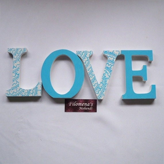 LOVE - Henna Wooden Hand Painted Letters