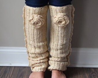 Crochet Legwarmers with Flower