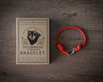 Men's bracelet-Red woman unisex Paracord 550-Pulsemade Slim collection-Handmade paracord bracelet Red Mens/Womens