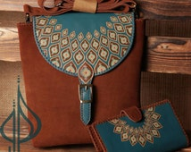 Free Shipping** Ready To Ship** Chocolate Brown Hand Painted Leather Messenger & Wallet