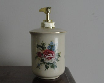 Vintage Cream Floral Soap/Lotion Dispenser