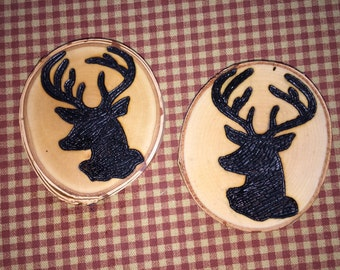 Wood Burned DEER Coasters