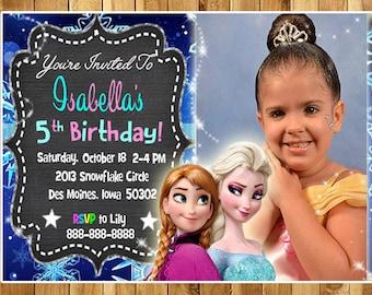FROZEN Printable Birthday Party Invitations / ELSA and ANNA Birthday Party Invitations / Disney Birthday Party Invitations