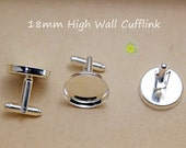 Cufflink Blanks-Silver Cufflinks-18mm Round High Wall Cufflink Blank-Cuff Link With Round Bezel Setting-Fit for 18mm Glass-Select Qty