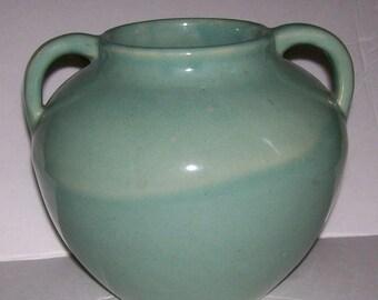 Zanesville Stoneware Aqua Arts & Crafts Vase Two Handled B-17 Vintage Art Pottery Green Hand Thrown USA Low Handle Jard