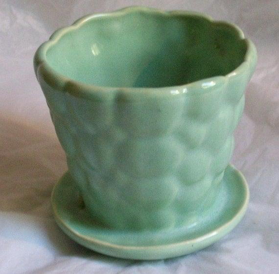 Vintage Brush McCoy Aqua Pebble Flower Pot With Attached